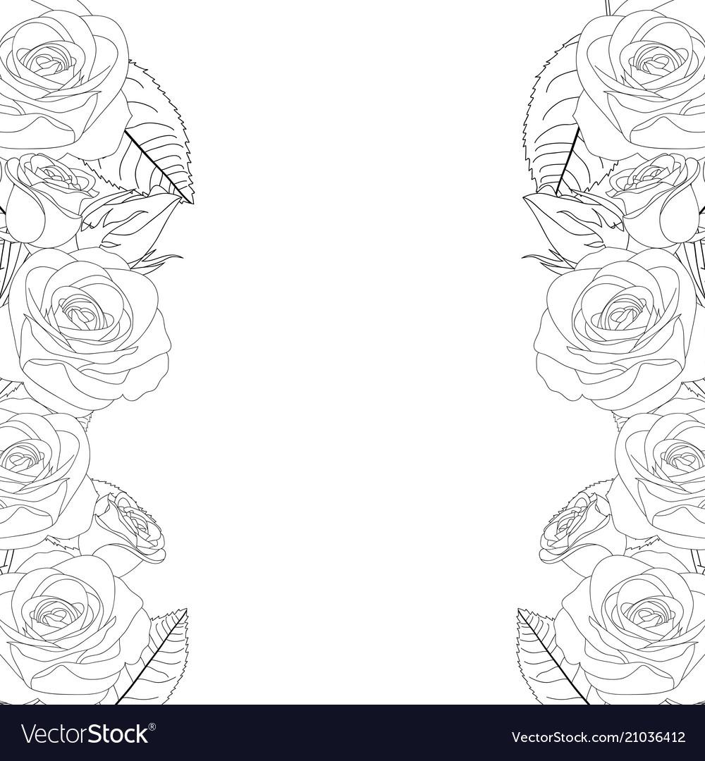 Rose flower frame outline border Royalty Free Vector Image