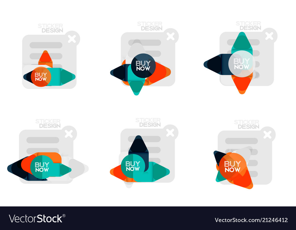 Set of flat design geometric stickers and labels