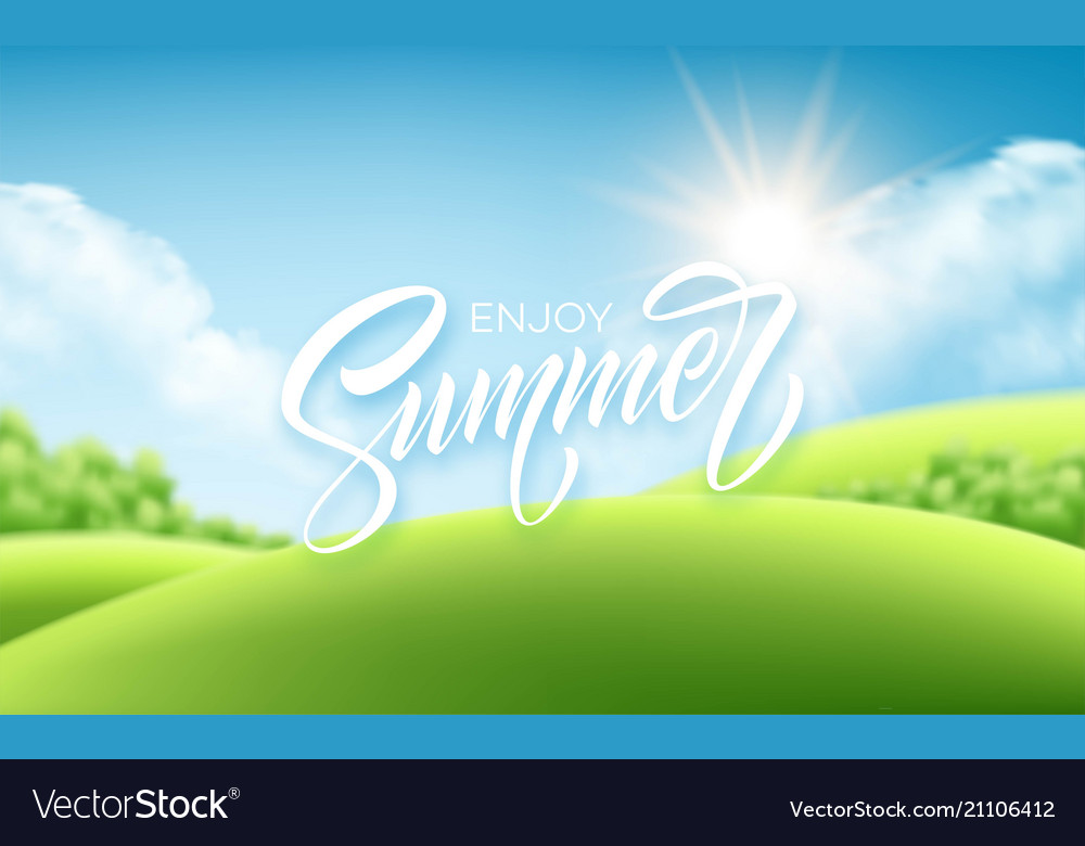 Summer lettering on the landscape background