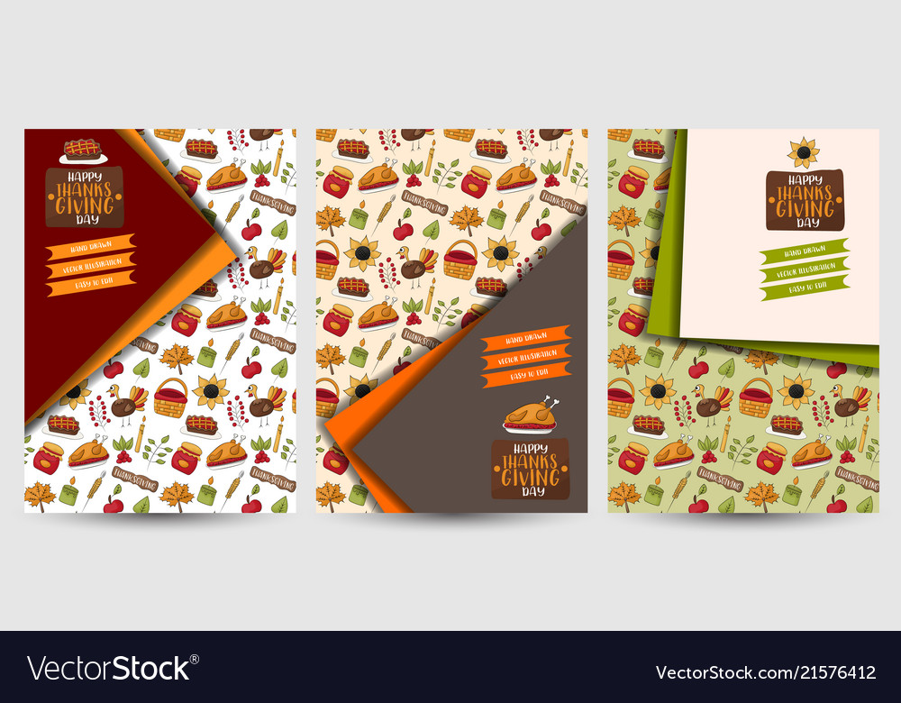 thanksgiving flyer set poster template for a vector image