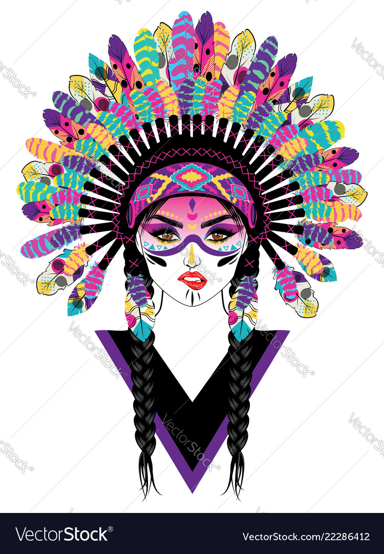 Tribal girl in war bonnet