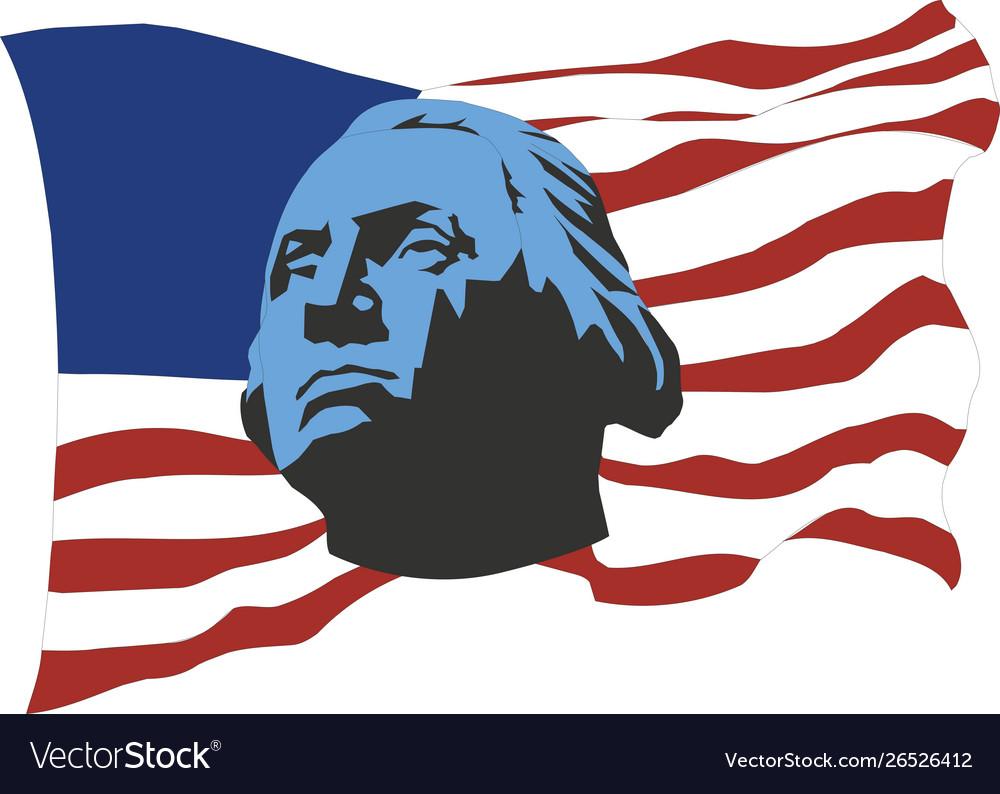 Usa flag with portrait george washington