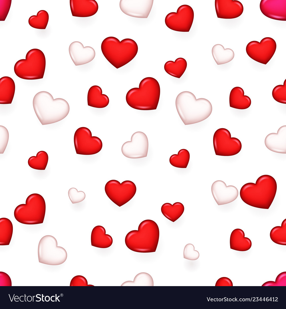 Valentine day isolated heart 3d seamless pattern