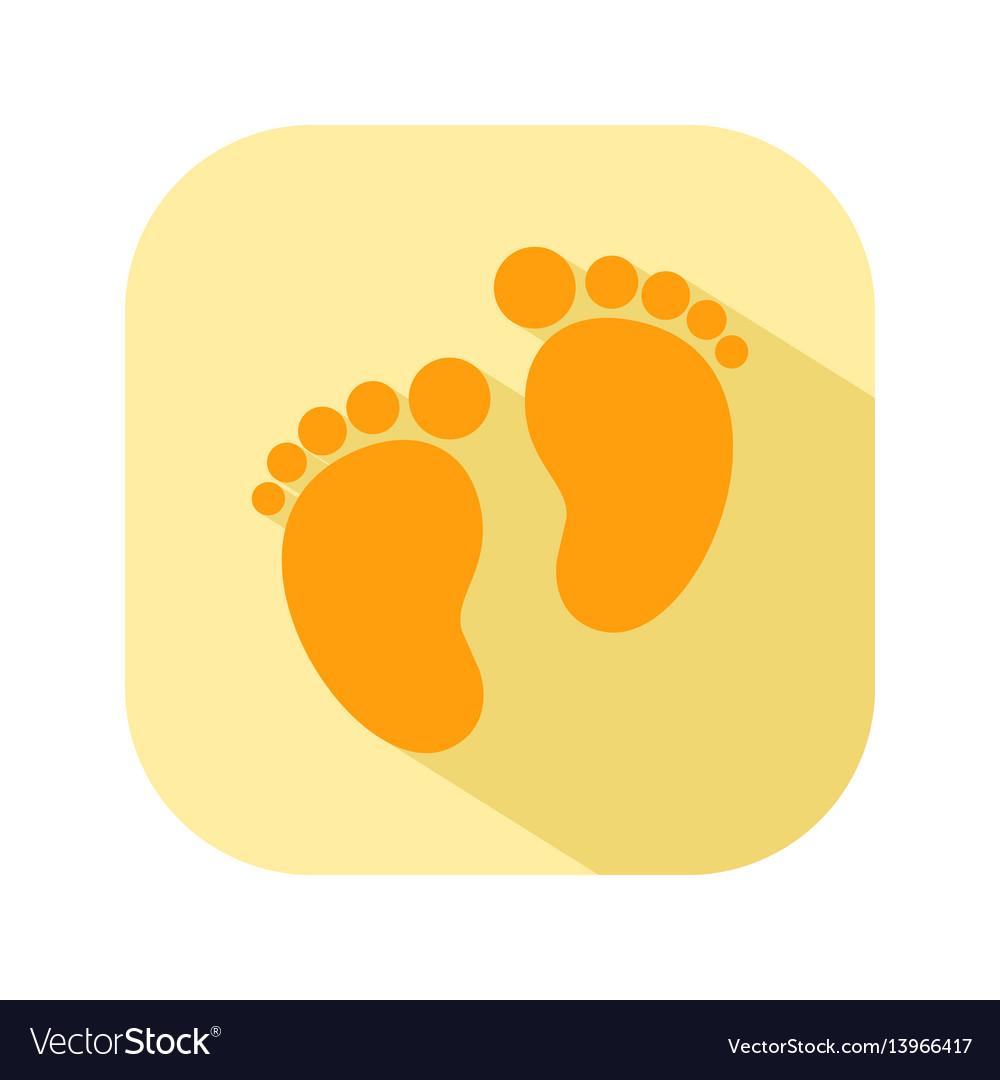 Baby footprints flat color icon newborn baby