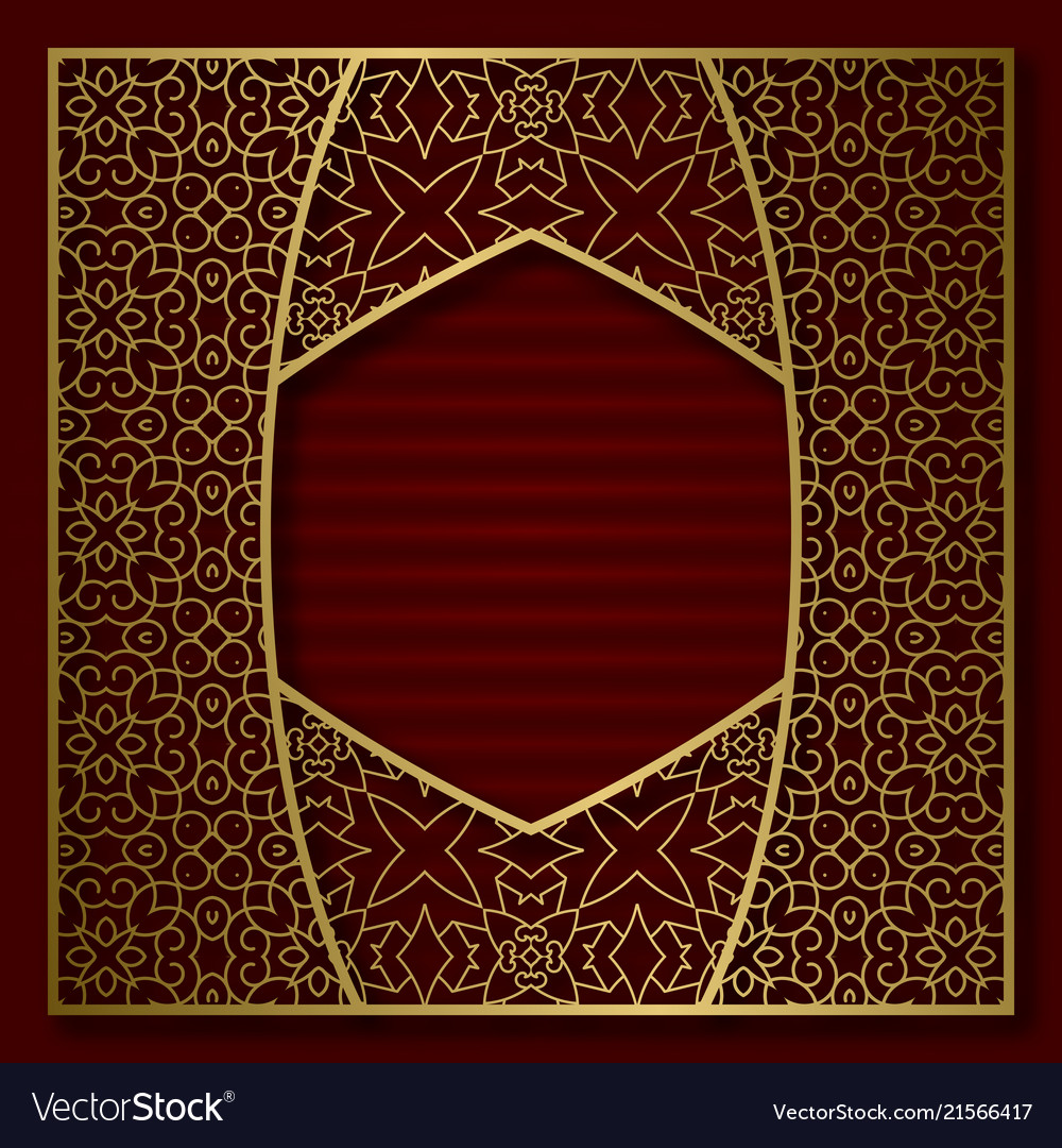 Golden cover background with patterned frame