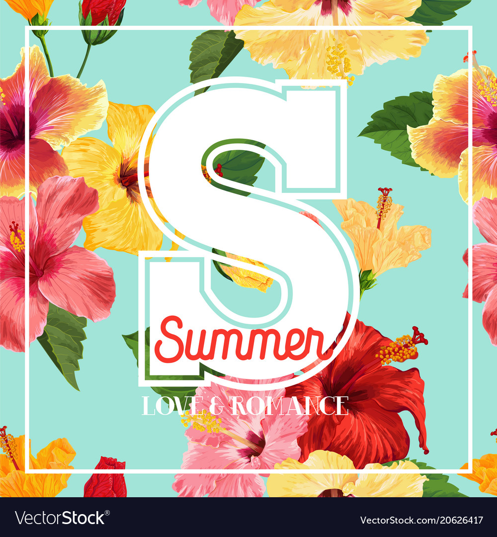 Hello summer poster floral design with hibiscus