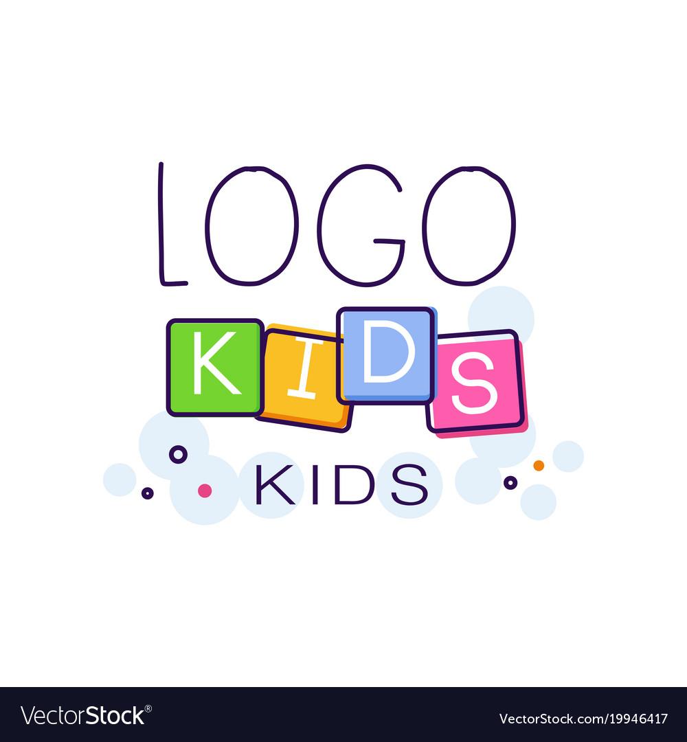 Logo kids creative concept template hand drawn