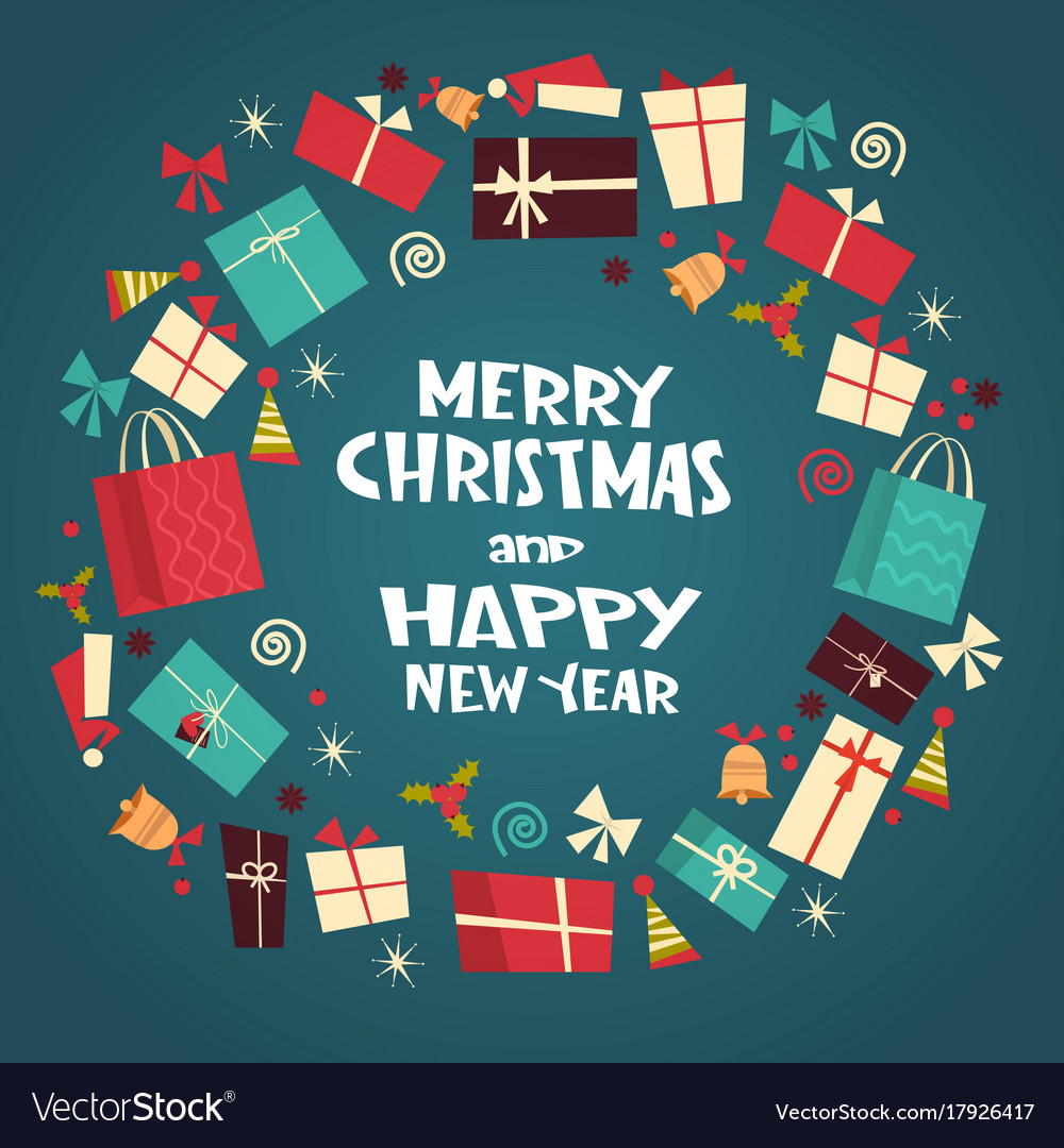 Merry christmas and happy new year greeting card vector image m4hsunfo