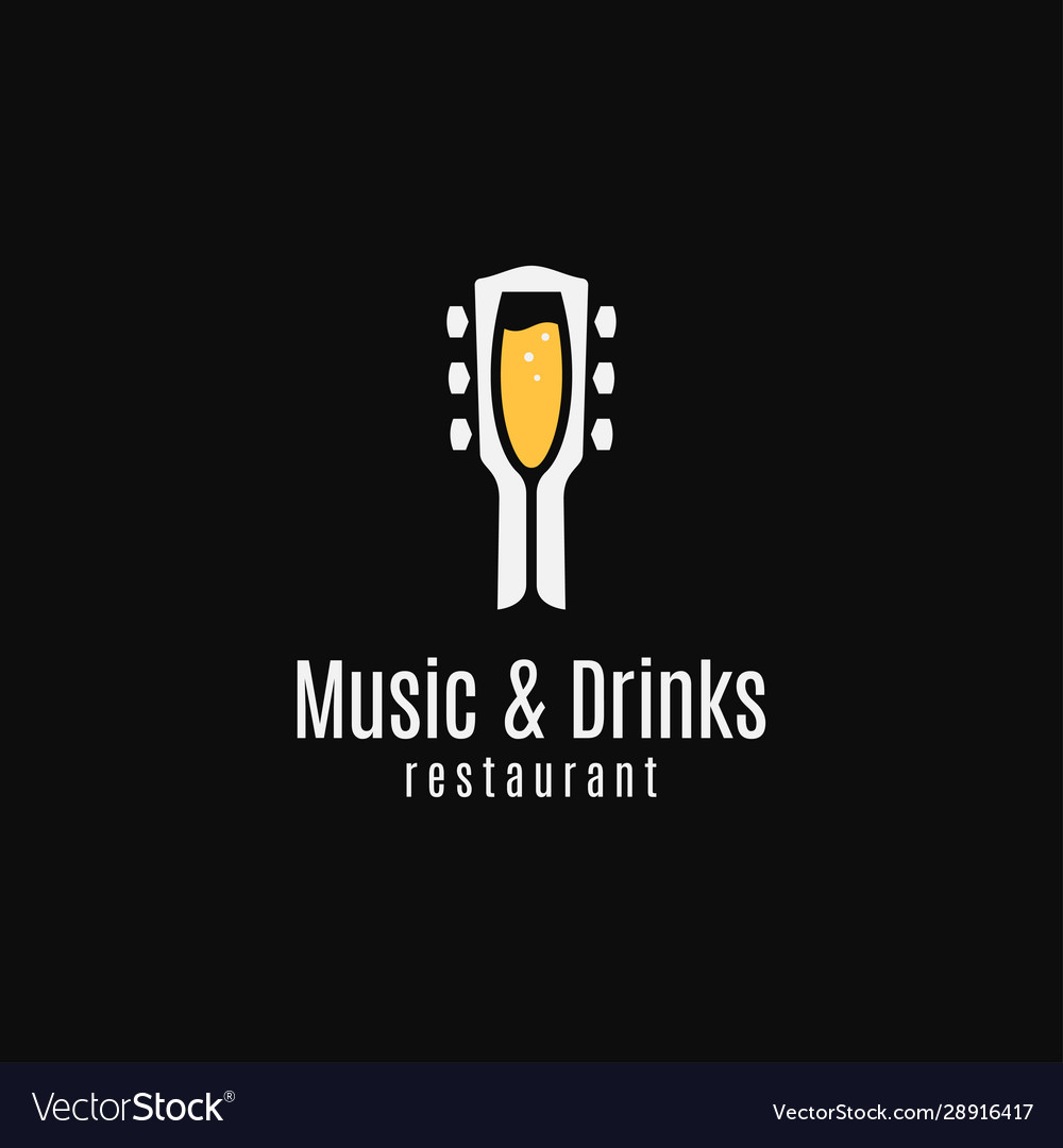 Music and drinks logo round linear guitar