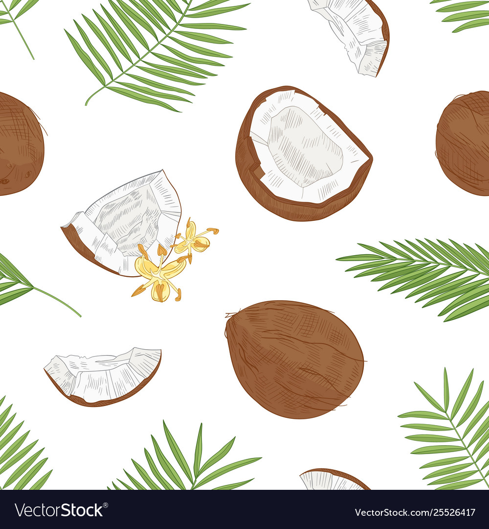 Natural seamless pattern with exotic fresh
