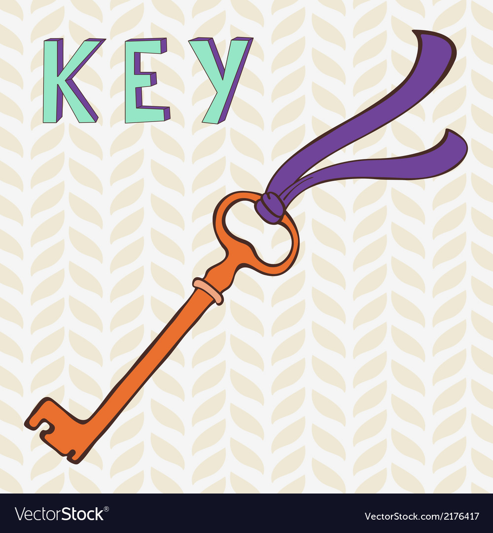 Retro key with ribbon vector image