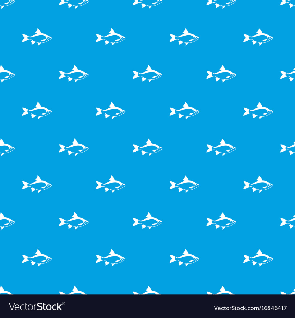 River Fish Pattern Seamless Blue Vector Image