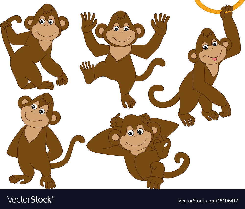 Set of cute cartoon monkeys