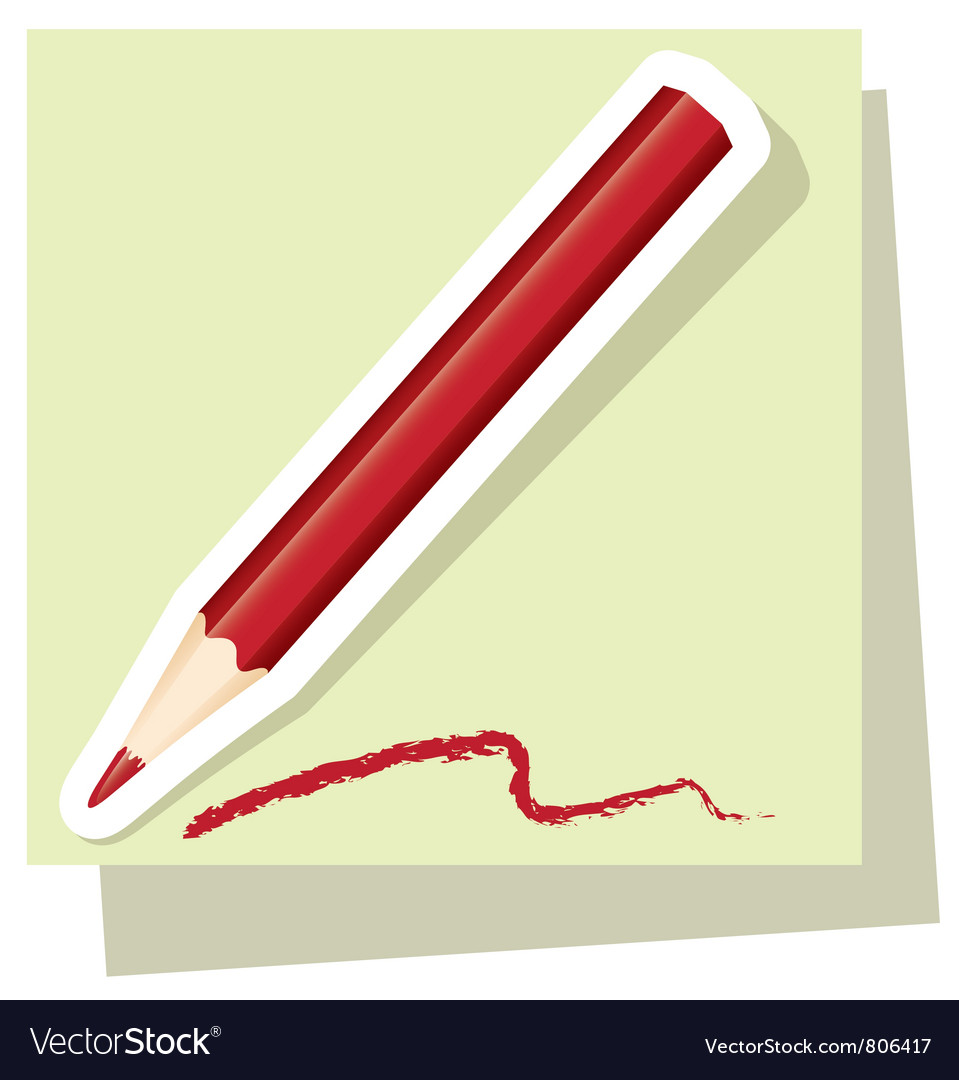 Sticker of red pencil