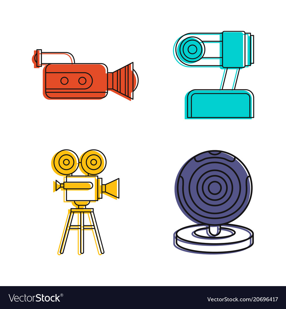 Videocamera icon set color outline style vector image