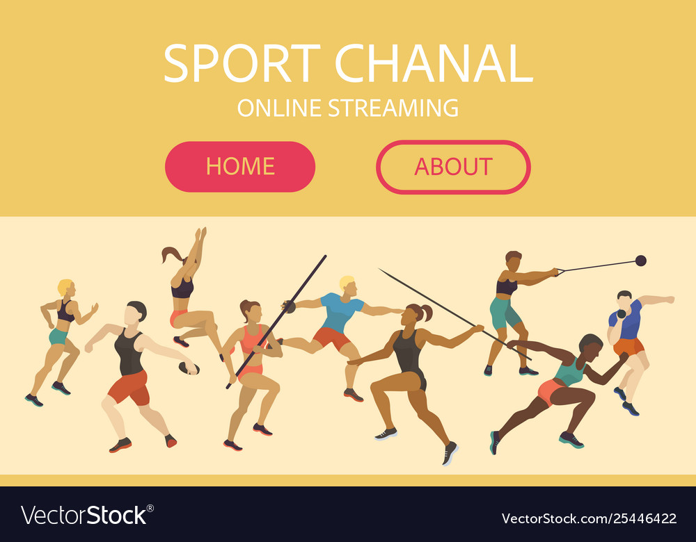 Athlete man and woman banner web design