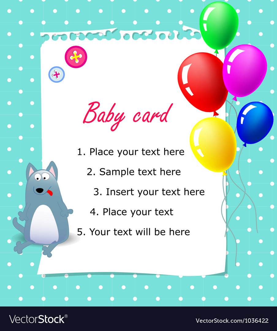 Baby Happy Birthday Card Blue Royalty Free Vector Image