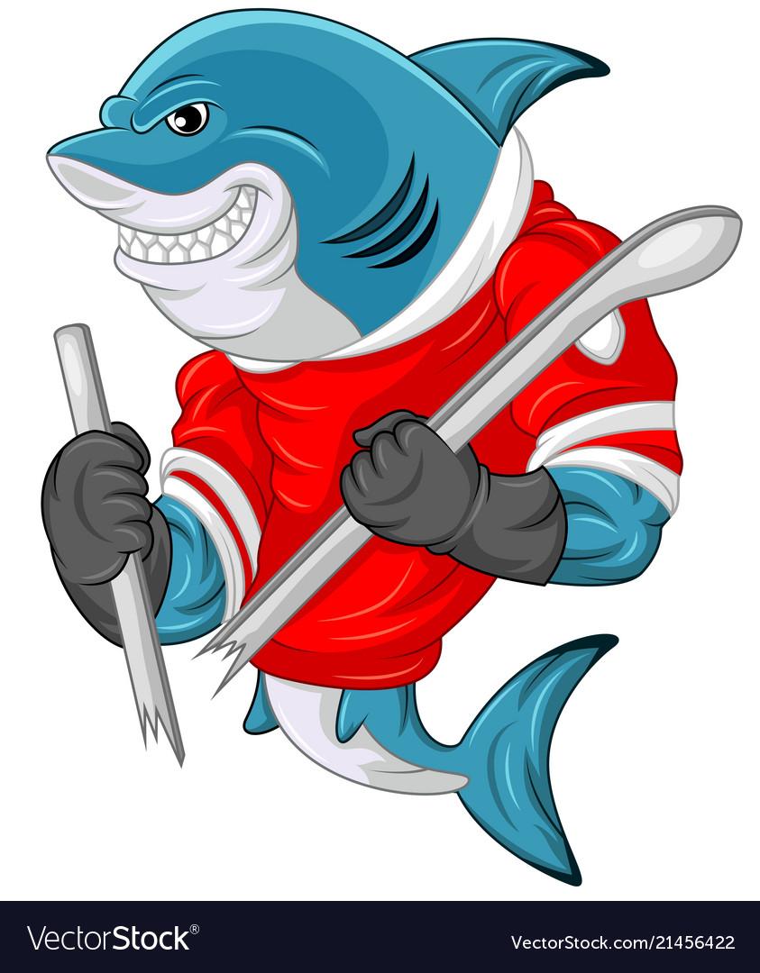 Cartoon Shark Mascot Wearing A Hockey Jersey While