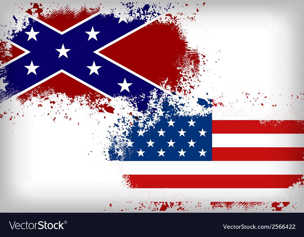 Confederate flag vs Union flag Civil war concept vector image