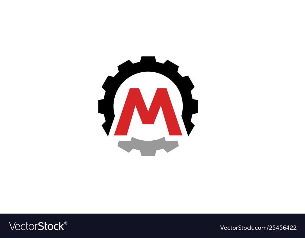 Creative gear m letter logo design