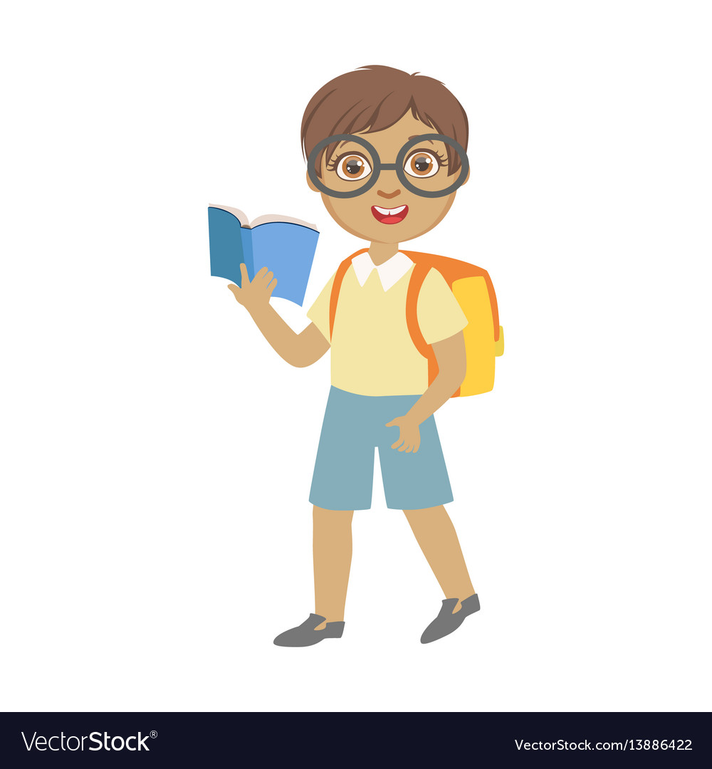 Cute schoolboy wearing glasses carrying backpack vector image