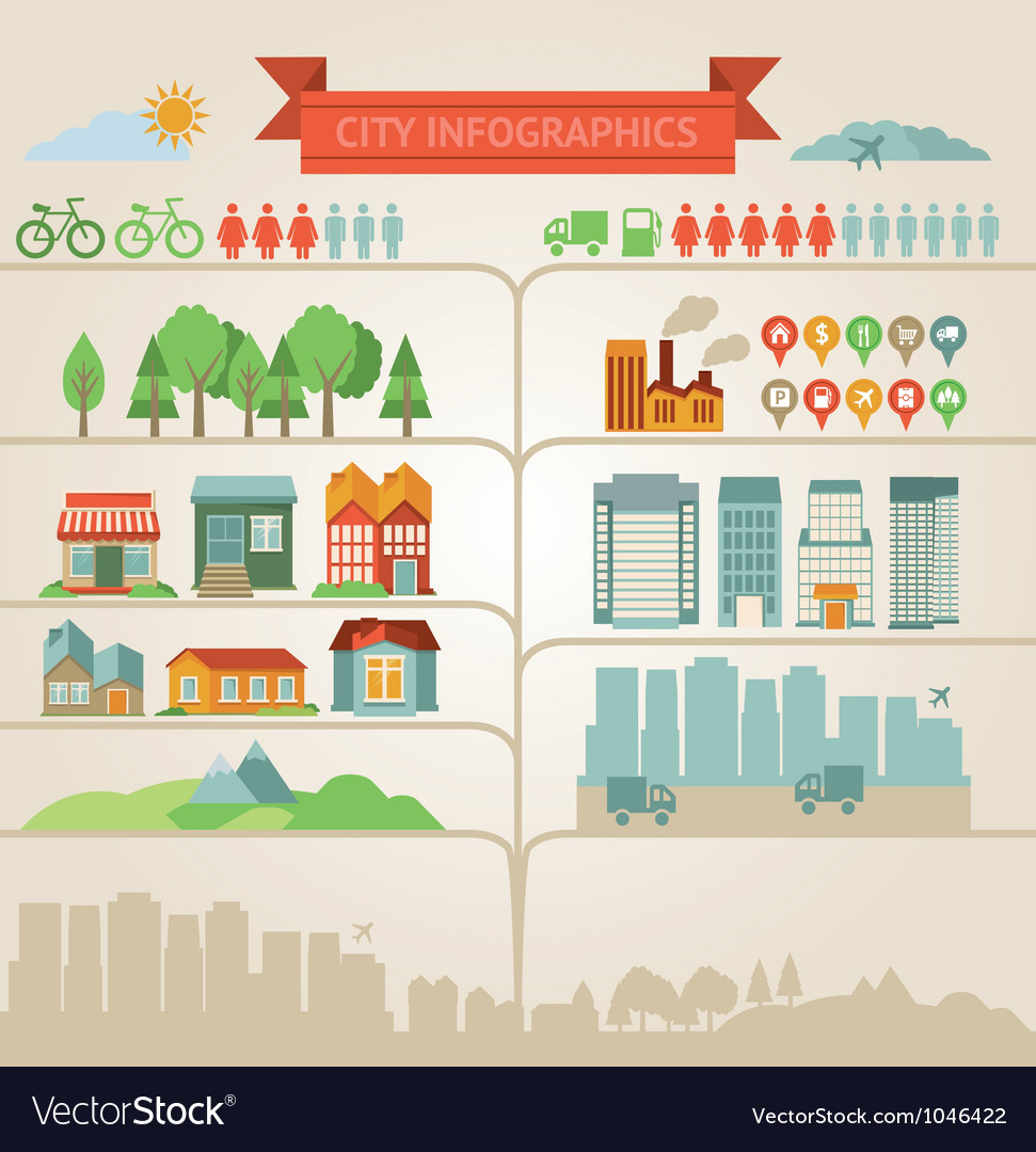 Design elements for infographics about city and vi