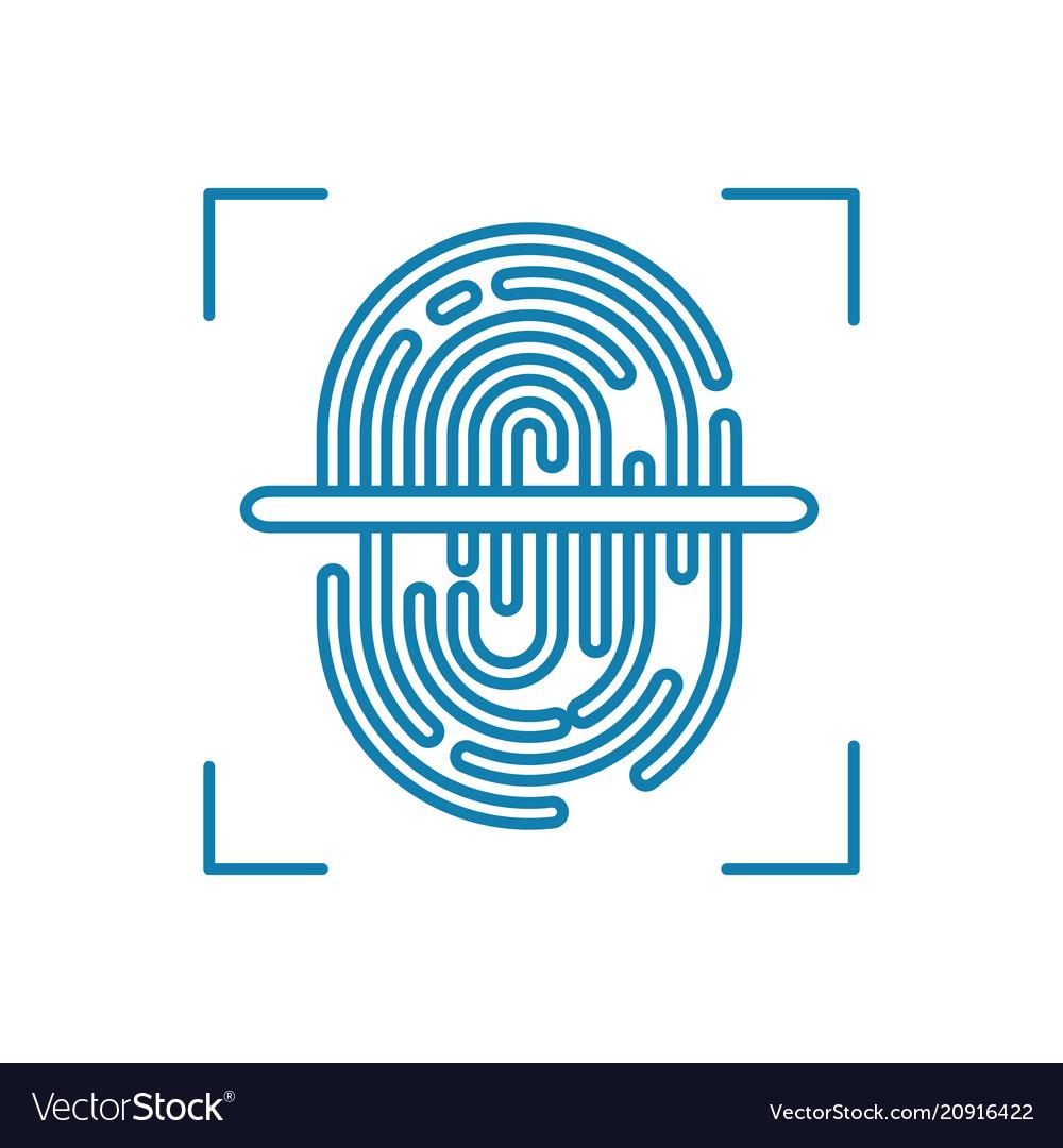 Fingerprint scanning linear icon concept