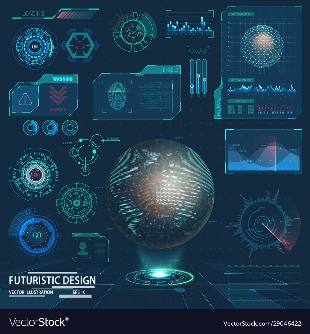 Future hud elements or interface for futuristic ui