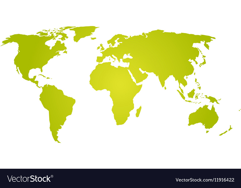 Flat World Map Vector.Green Yellow Silhouette Of World Map Royalty Free Vector
