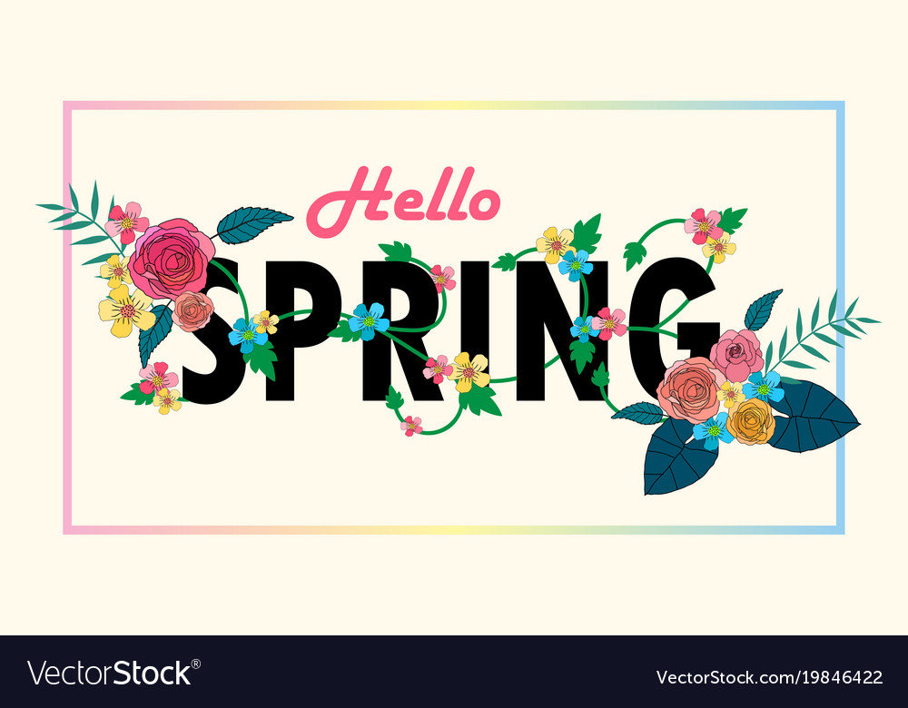 Hello spring letter decorating with floral design