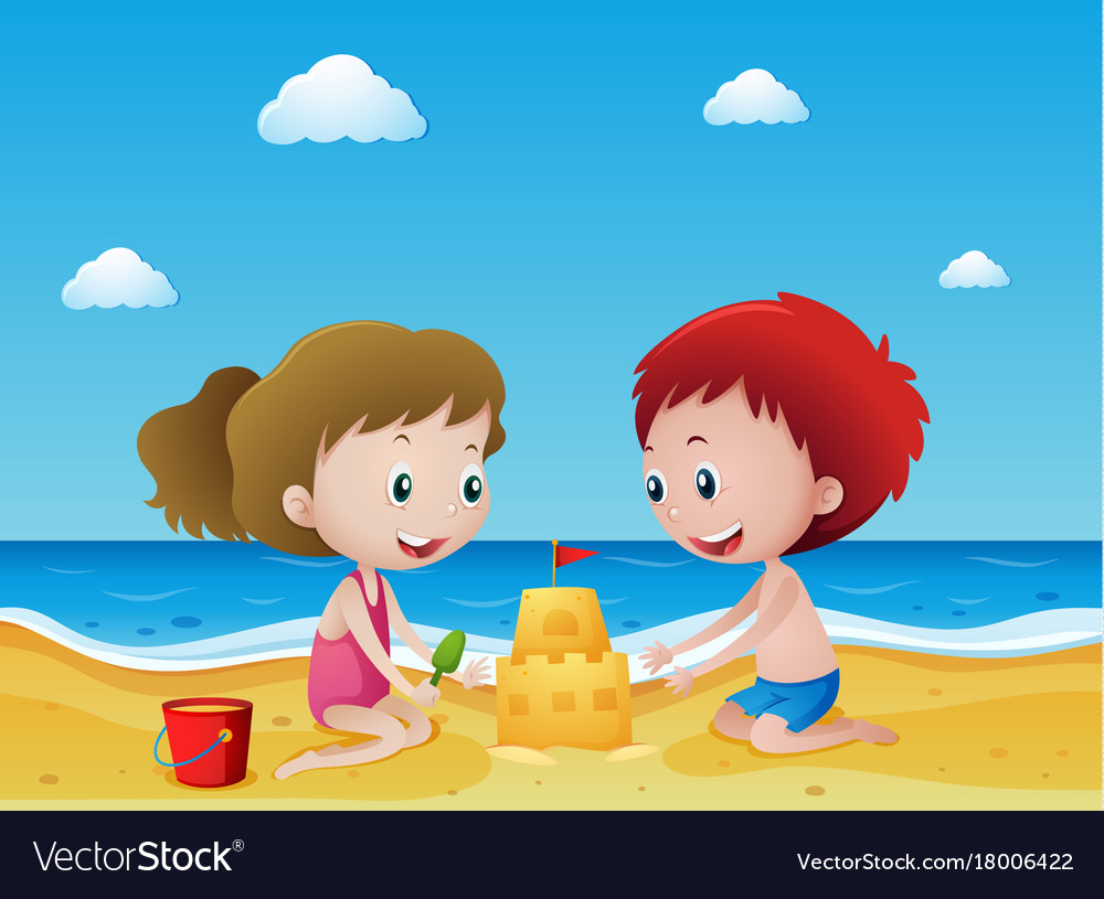 Kids playing sand on the beach Royalty Free Vector Image