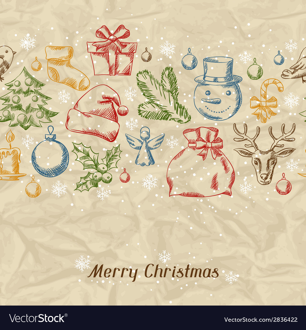 Merry Christmas hand drawn invitation card