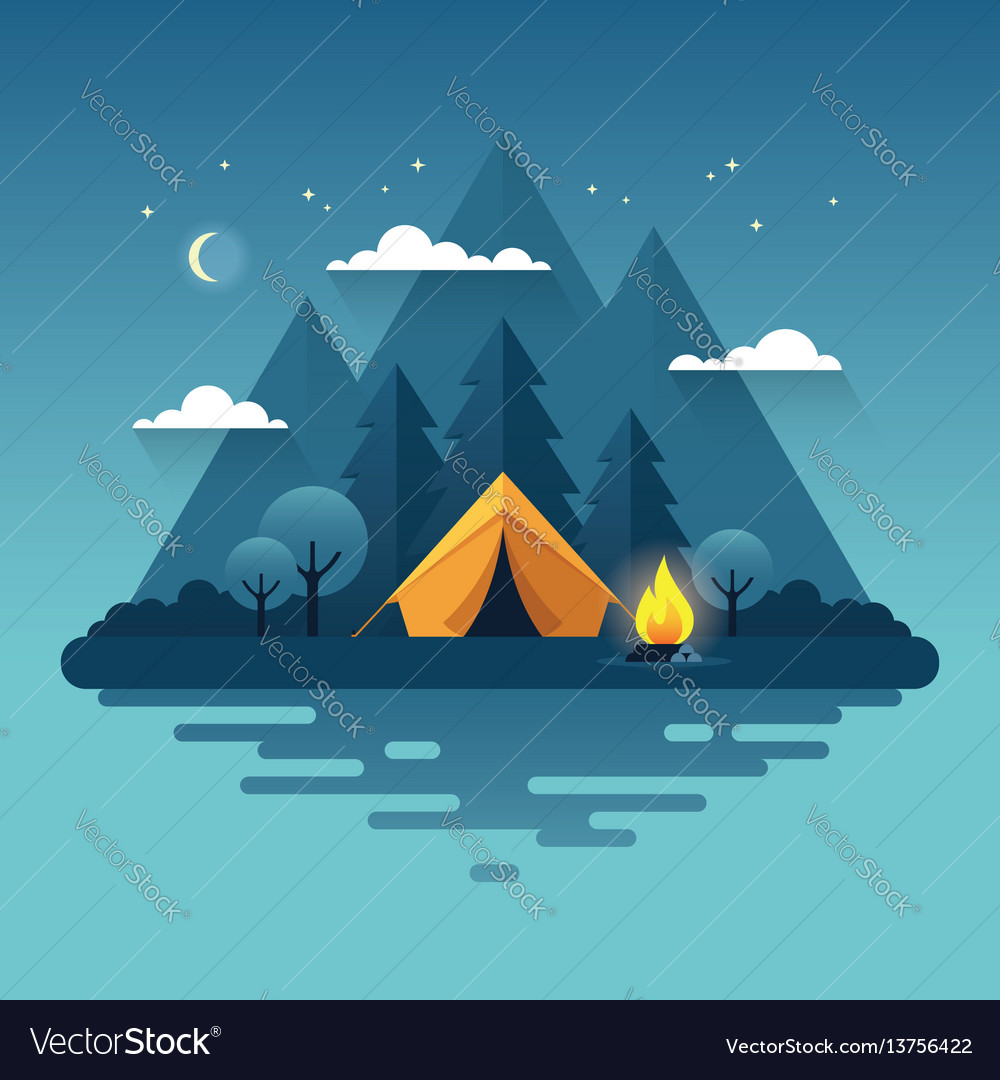 Night camping in flat style