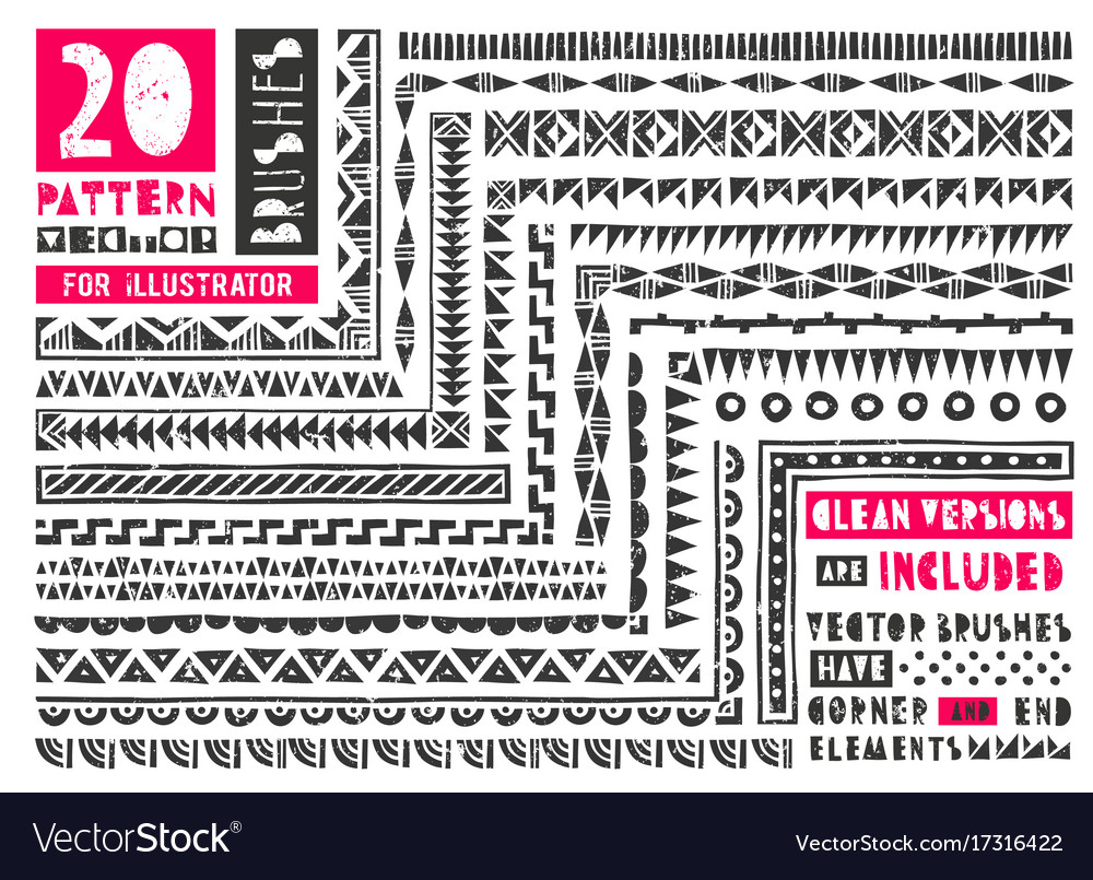Set of 20 pattern brushes for vector image