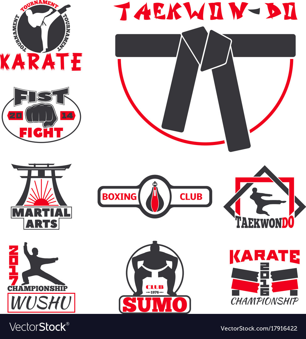 Set of cool fighting club emblems labels fight