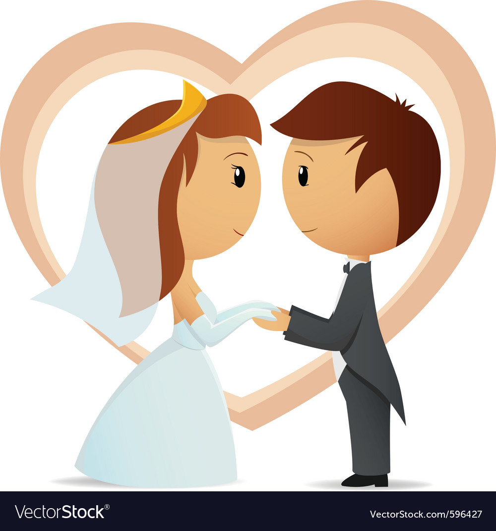 Cartoon bride and groom Royalty Free Vector Image