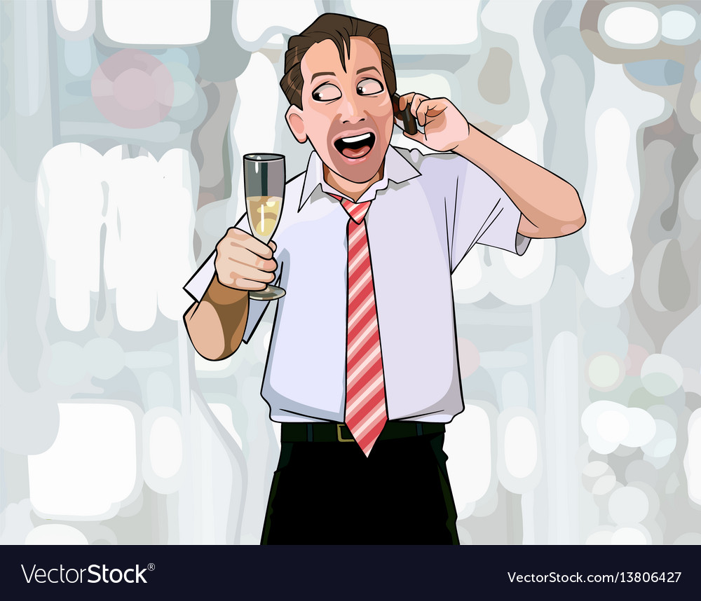 Cartoon man with a glass in hand happily talking