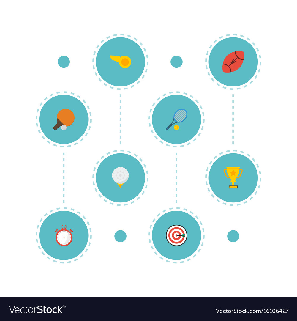 Flat icons arrow golf table tennis and other vector image