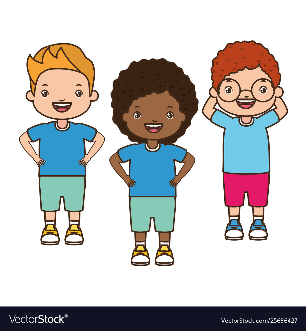 Girl and boys happy cartoon