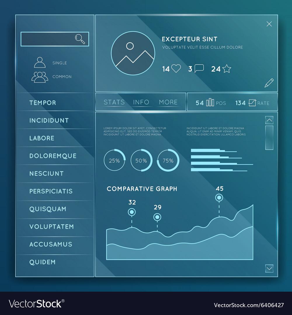 Glass website elements templates set