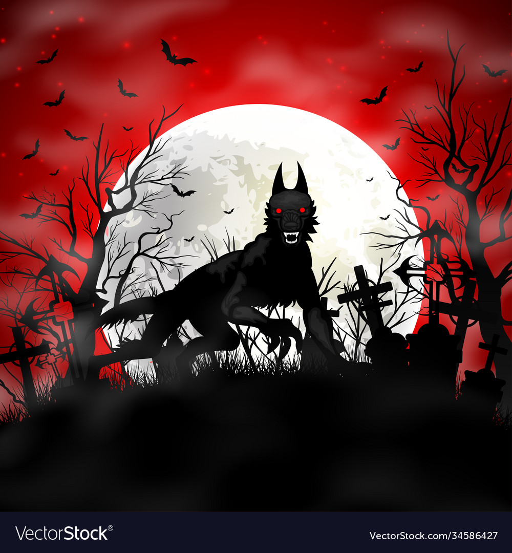 Halloween background with black wolf in graveyard vector