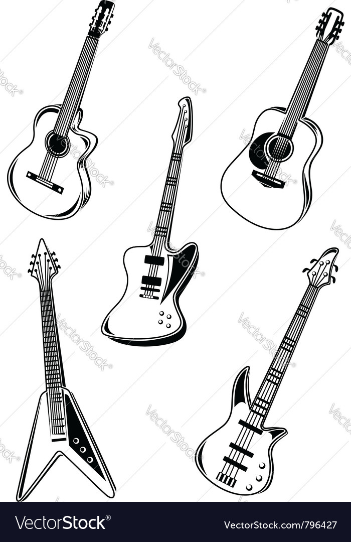 Music acoustic and electrical guitars vector image