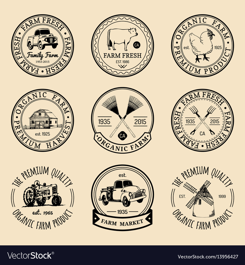 Retro set of farm fresh logotypes vintage