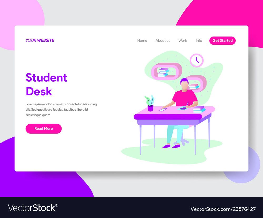 Student learning on desk concept