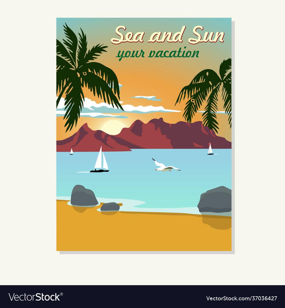 Vintage summer vacation poster blank