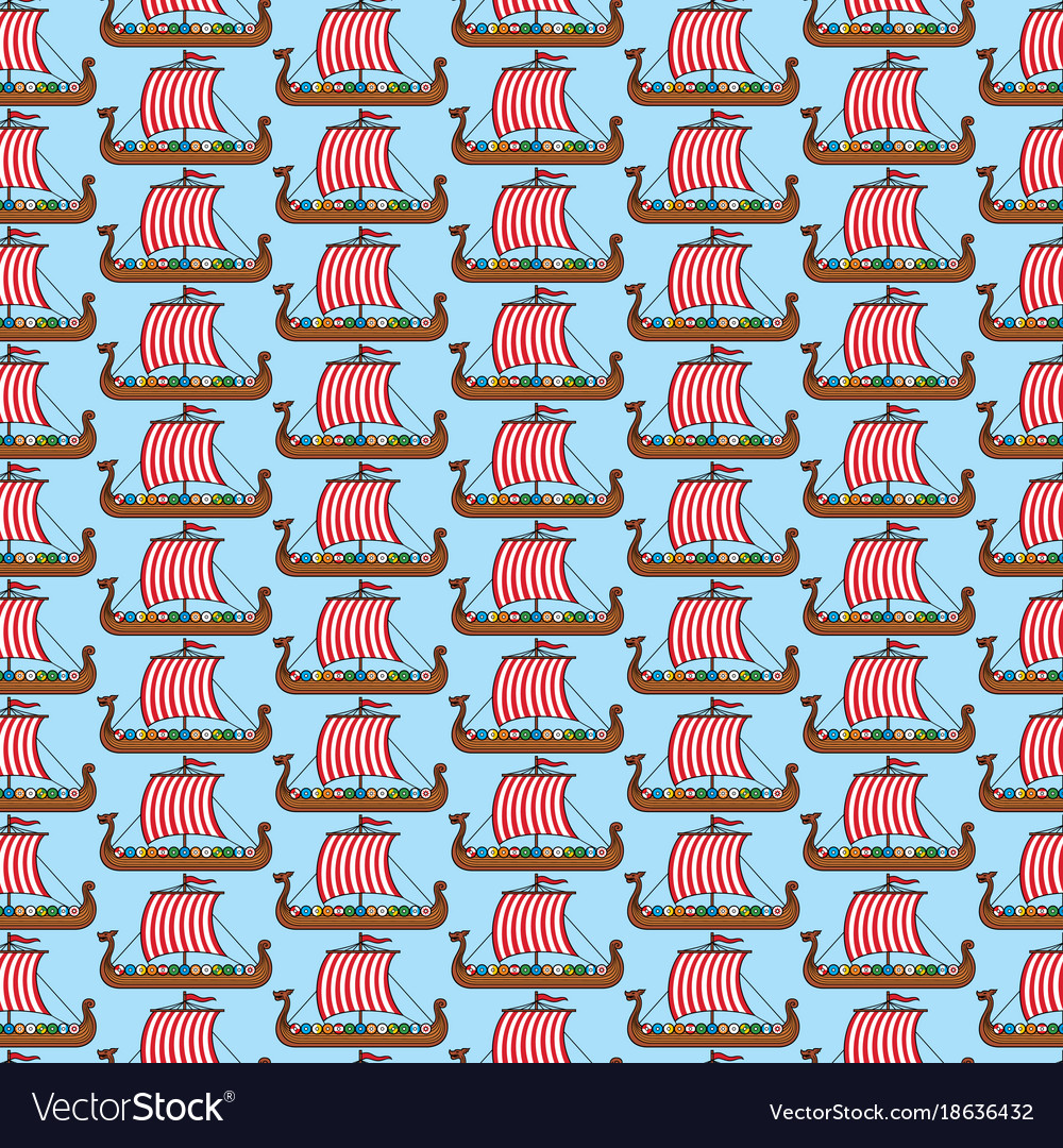 Background Pattern With Viking Long Ship Vector Image