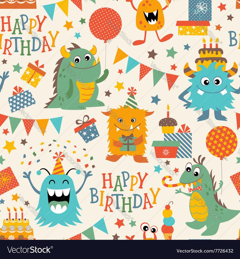 Birthday monsters pattern