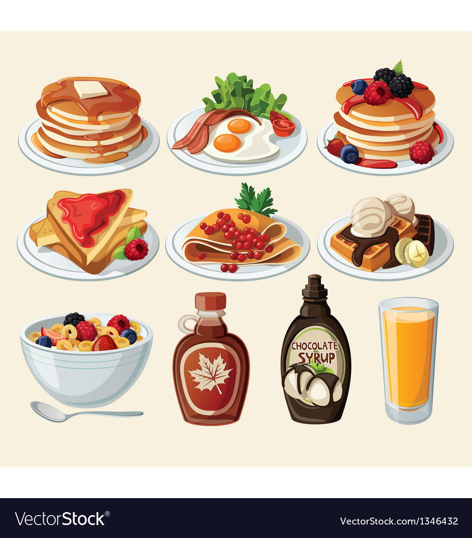 Classic breakfast cartoon set