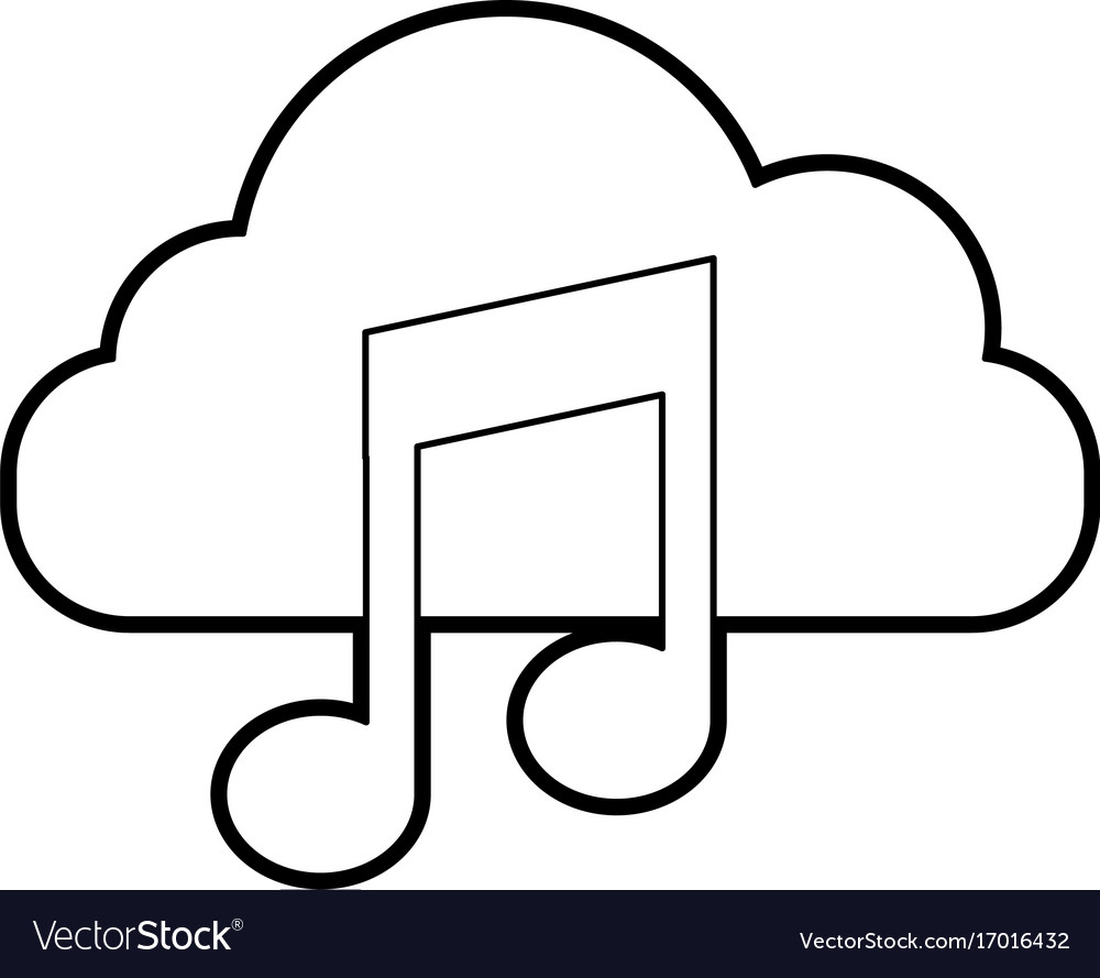 Cloud computing with music note isolated icon