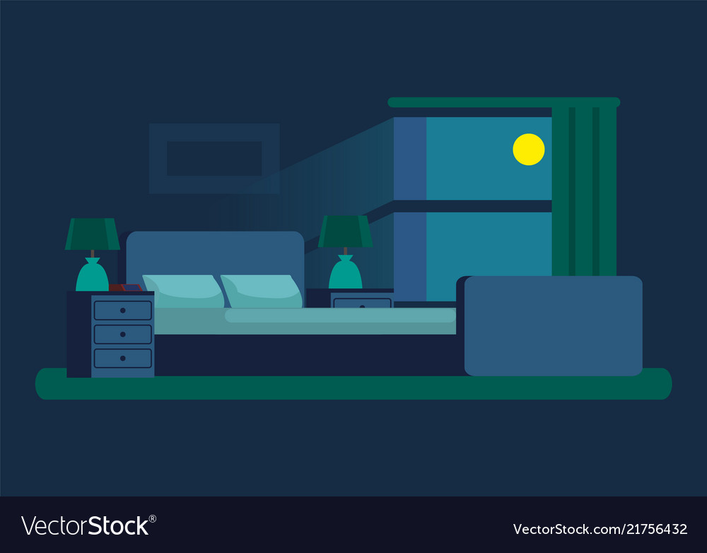 Cozy Bedroom At Night With Moonlight From Window Vector Image